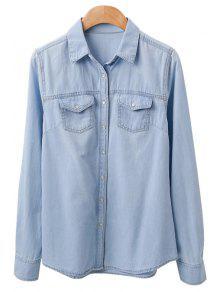 4a2e1c8e2fdf 37% OFF  2019 Bleach Wash Pockets Denim Shirt In DEEP BLUE