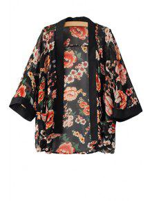 Floral Print 3/4 Sleeve Coat - Black S