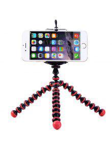 مرنة البسيطة الأخطبوط نمط ترايبود حامل حامل للهواتف النقالة - الأحمر مع الأسود
