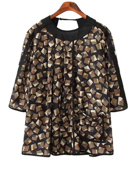 affordable Ruffle Print Half Sleeve Shirt - COLORMIX S
