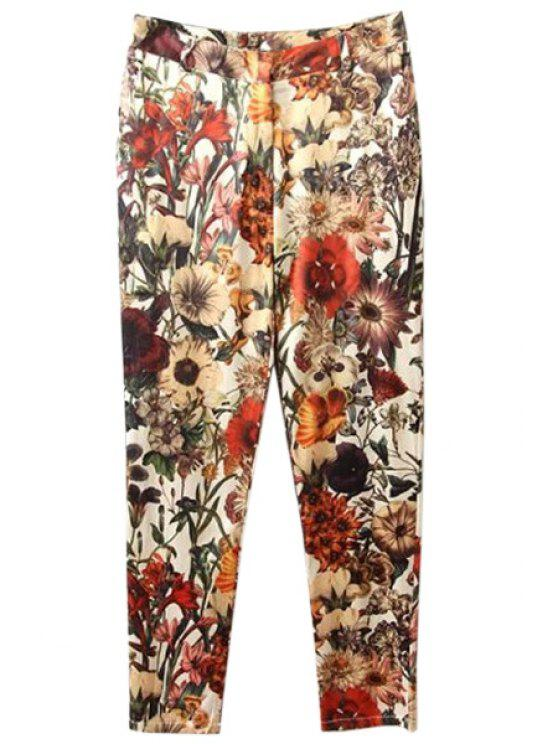 affordable Floral Print Zipper Fly Pants - COLORMIX S
