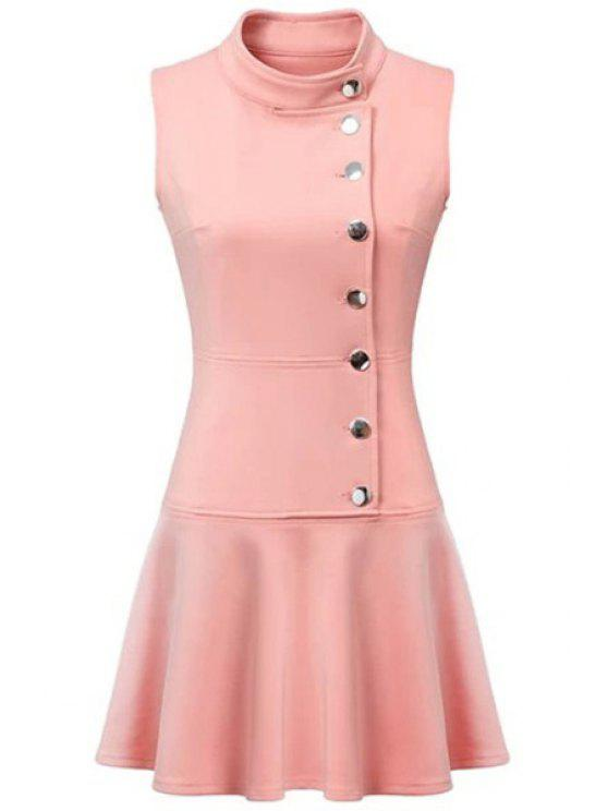 ladies Ruffles Button Down Skater Dress - PINK L