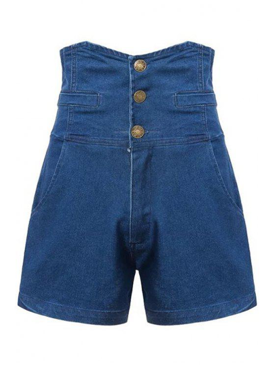 chic Three Buttons High Waist Denim Shorts - BLUE S
