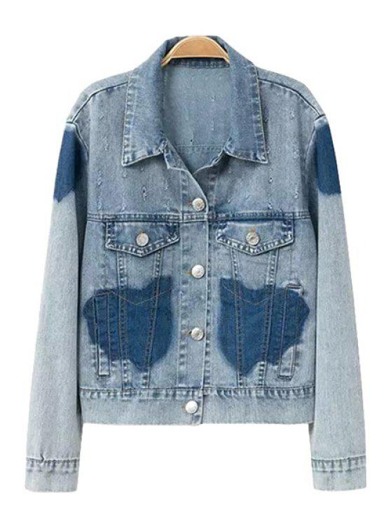 trendy Color Block Bleach Wash Denim Coat - BLUE S