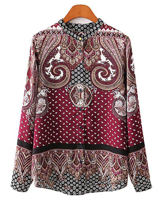 affordable Retro Pattern Long Sleeves Shirt - DARK RED S