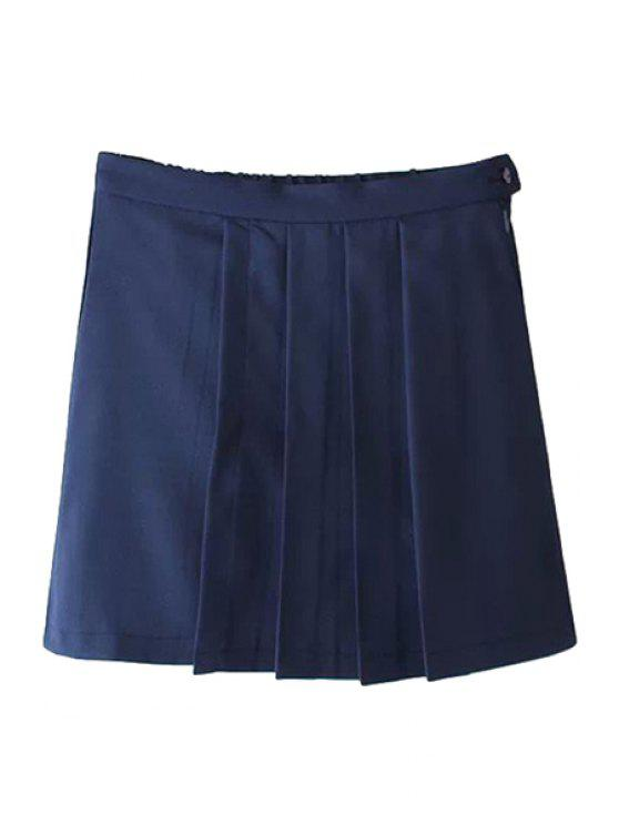 trendy Solid Color Pleated Skirt - PURPLISH BLUE S
