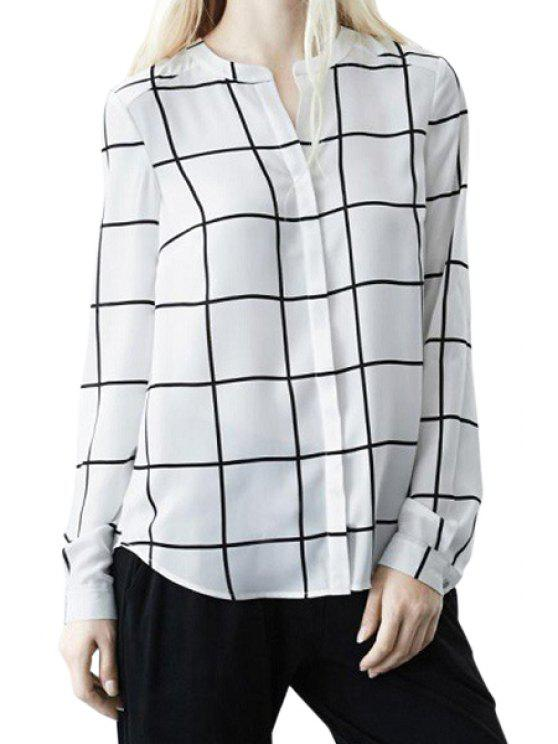 outfits Checked Stand Neck Shirt - WHITE S