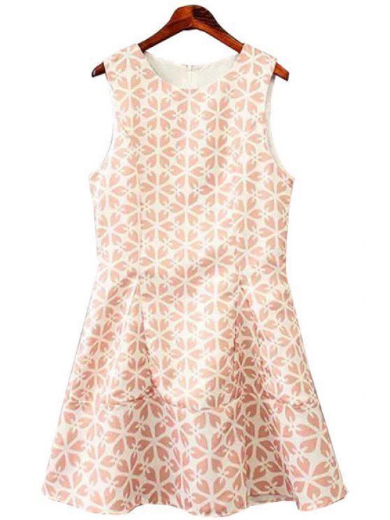 new Jewel Neck Print A-Line Dress - COLORMIX S
