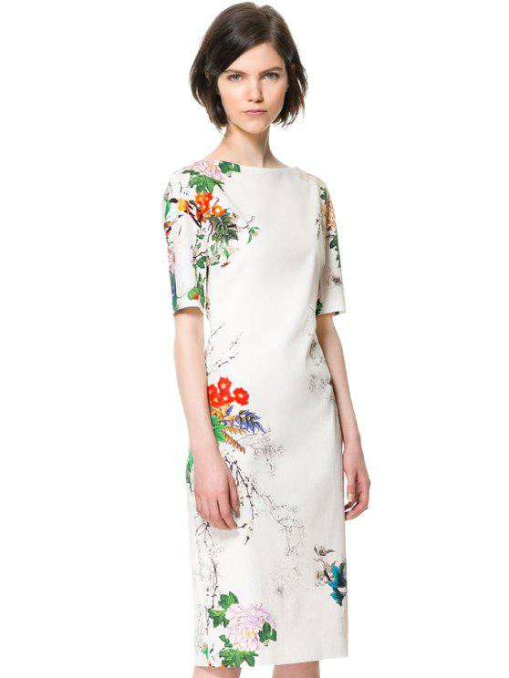 latest Ink Floral Print Short Sleeve Dress - WHITE S