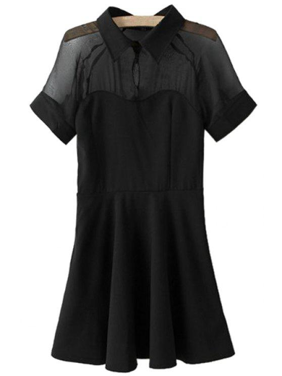 shops Voile Splicing Short Sleeves Dress - BLACK S