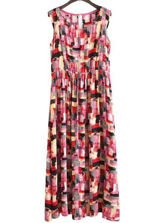 outfit Colorfu Print Ruffle Sleeveless Dress - RED S
