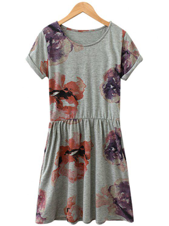 latest Short Sleeves Floral Dress - GRAY S