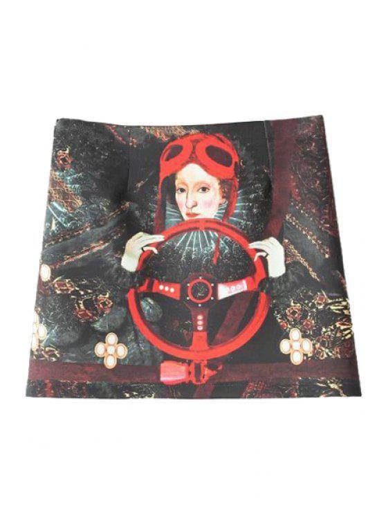 shops Figure Print High Waisted Skirt - BLACK M