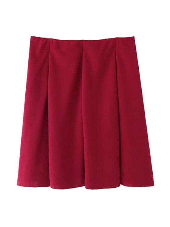 chic Pleated Solid Color Skirt - WINE RED S