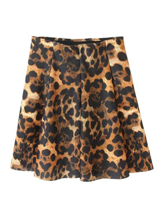 best Leopard Print Pleated Skirt - LEOPARD S