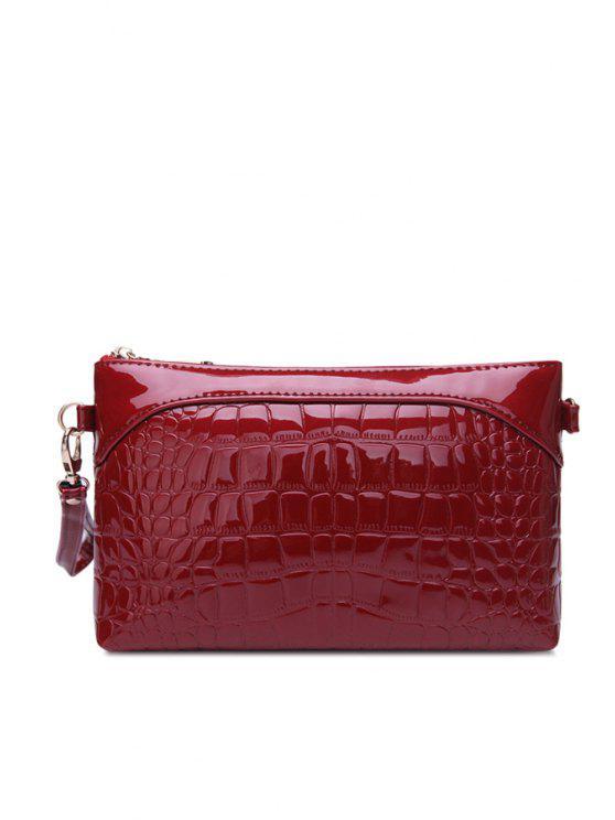 Patent Leather Crocodile Print Clutch Bag Black Blue Purple Rose Wine Red