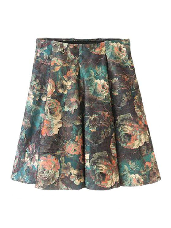 womens Floral Print Pleated Skirt - DEEP BROWN M
