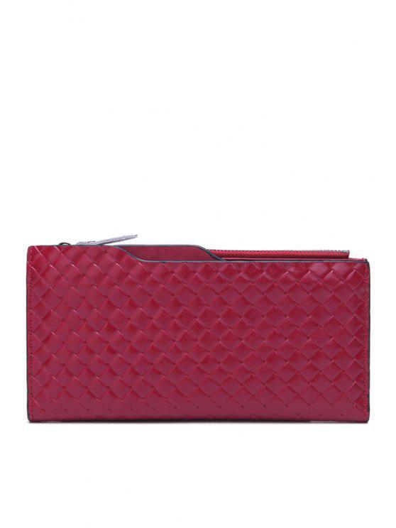 women Woven Pattern Zipper Solid Color Wallet - WINE RED
