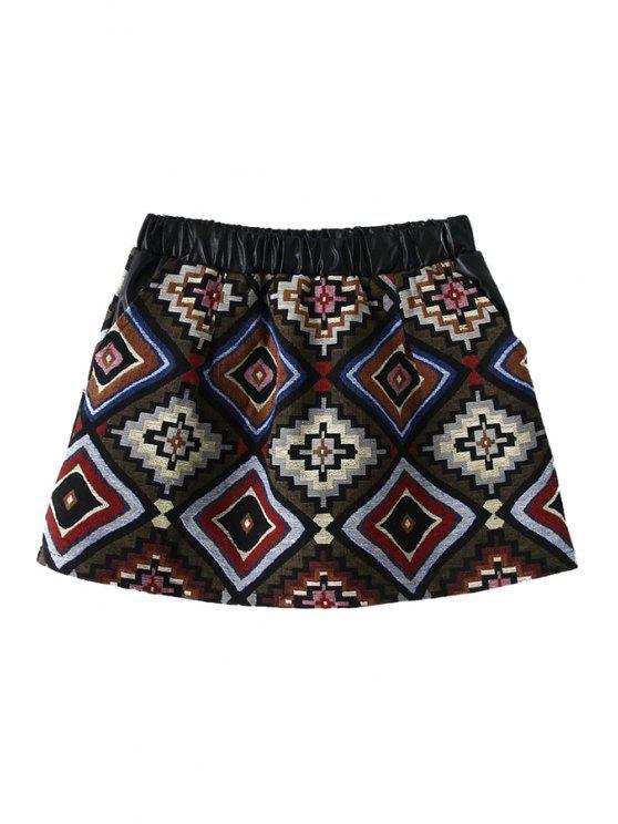 shop Geometric Pattern A-Line Skirt - RED M