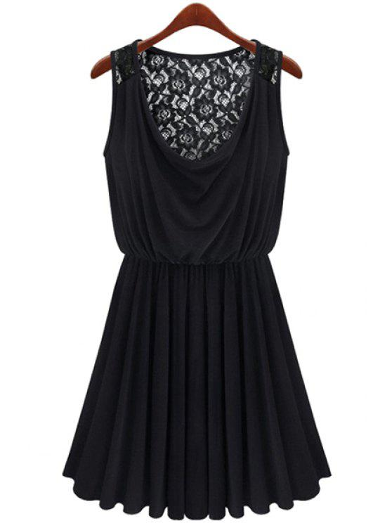 hot Lace Splicing Black Sundress - BLACK M