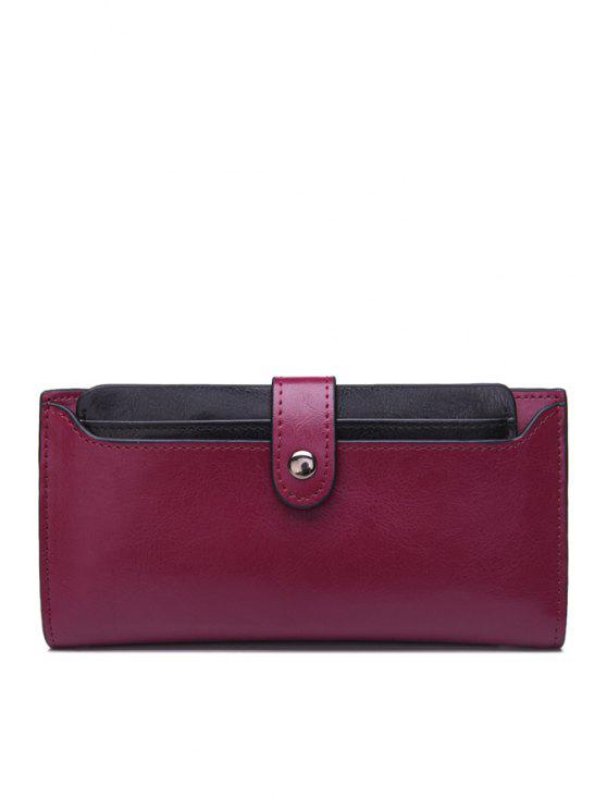 fashion Color Block Button PU Leather Wallet - PURPLE
