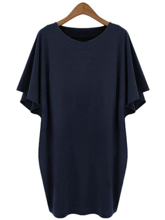 chic Half Sleeve Solid Color T-Shirt - CADETBLUE XL