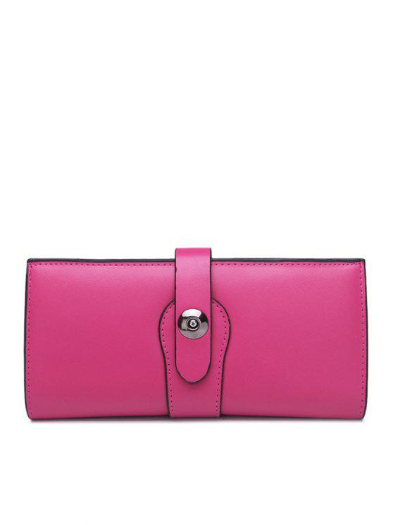trendy PU Leather Solid Color Metallic Wallet - ROSE