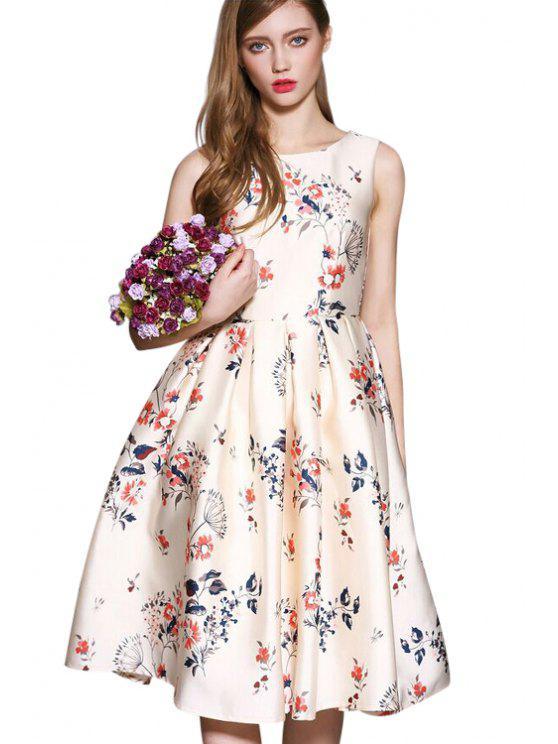 best Floral Print Bowknot Sundress - APRICOT S