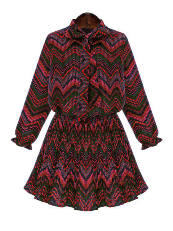 best Striped Print Long Sleeve Dress - RED 2XL