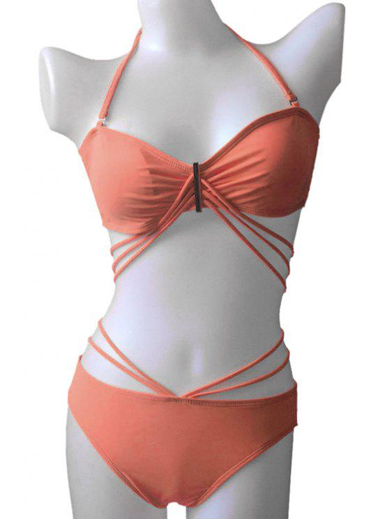 lady Solid Color Bandage Tie-Up Bikini Set - JACINTH M