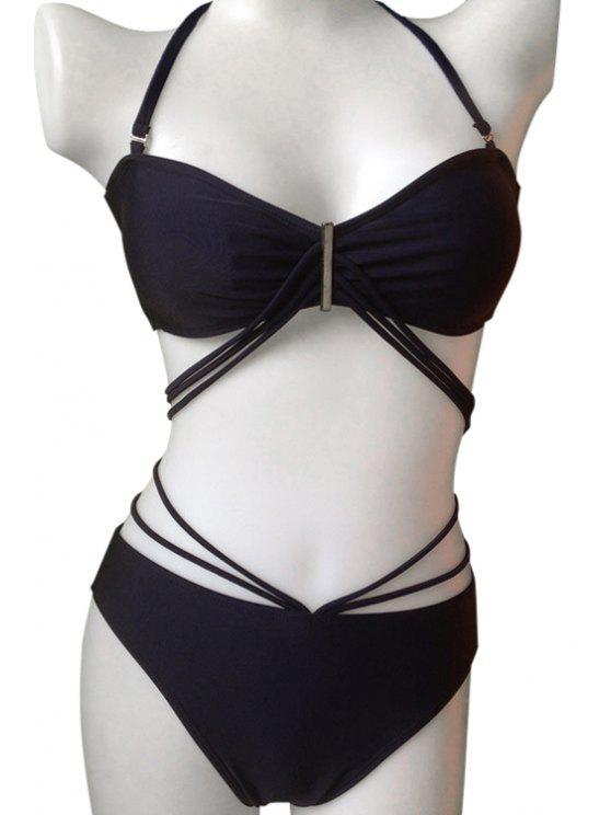 unique Solid Color Bandage Tie-Up Bikini Set - PURPLISH BLUE L