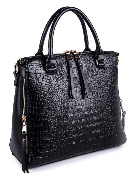 sale Crocodile Print Zipper Tote Bag - BLACK