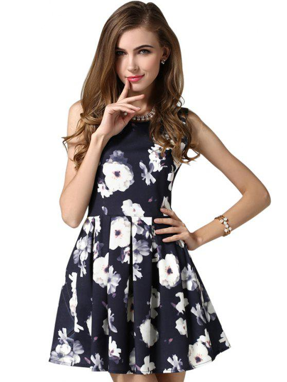 fancy Flower Print A-Line Sundress - PURPLISH BLUE S