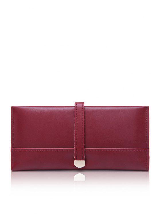 ladies Belt Metallic Solid Color Wallet - WINE RED