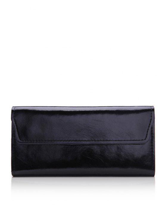 trendy Solid Color PU Leather Wallet - BLACK