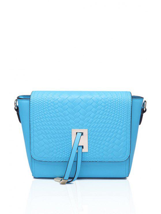 shop Woven Pattern Metallic Belt Crossbody Bag - BLUE