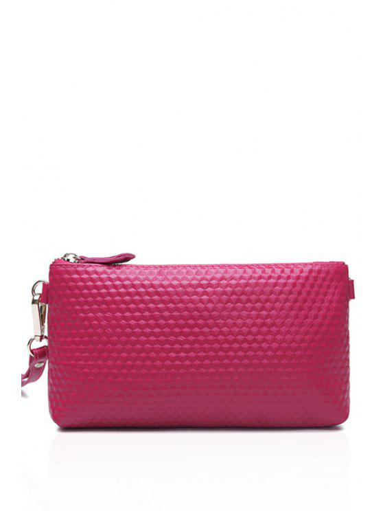 chic Embossing Solid Color Zipper Crossbody Bag - ROSE
