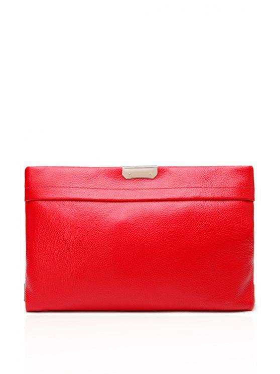 unique Embossing Metallic PU Leather Clutch Bag - RED