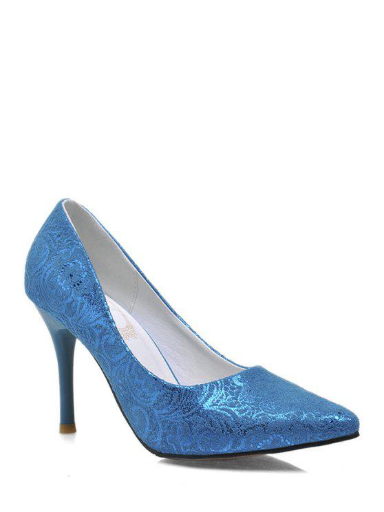affordable Lace Stiletto Heel Pointed Toe Pumps - BLUE 39