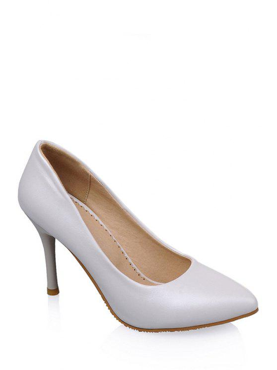 fancy Stiletto Heel Solid Color Pointed Toe Pumps - WHITE 35