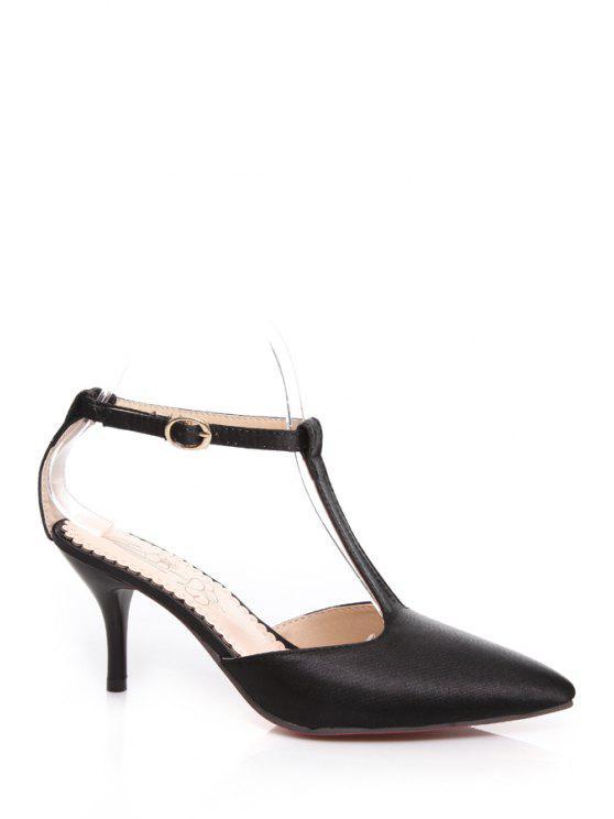 women's Stiletto Heel Pointed Toe T-Strap Pumps - BLACK 34