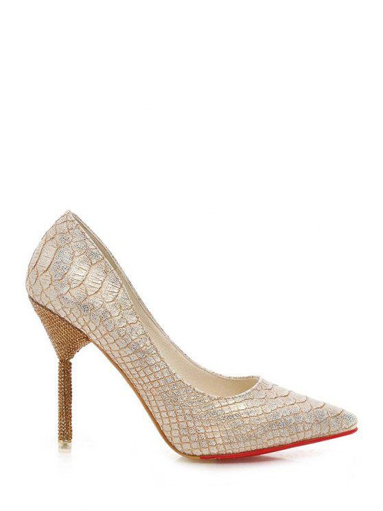 lady Snake Print Rhinestones Stiletto Heel Pumps - GOLDEN 34