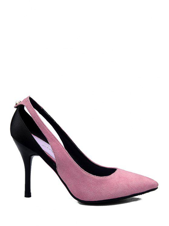 fancy Color Block Hollow Out Suede Pumps - PINK 34