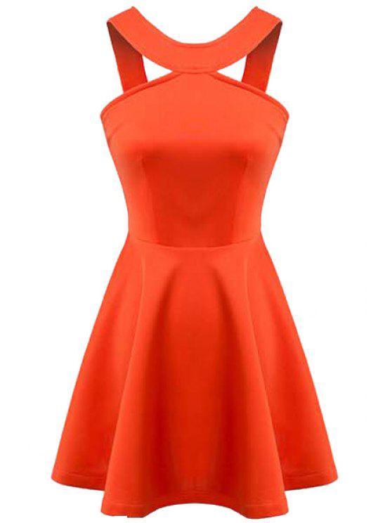 new Orange Sleeveless A-Line Dress - ORANGE L