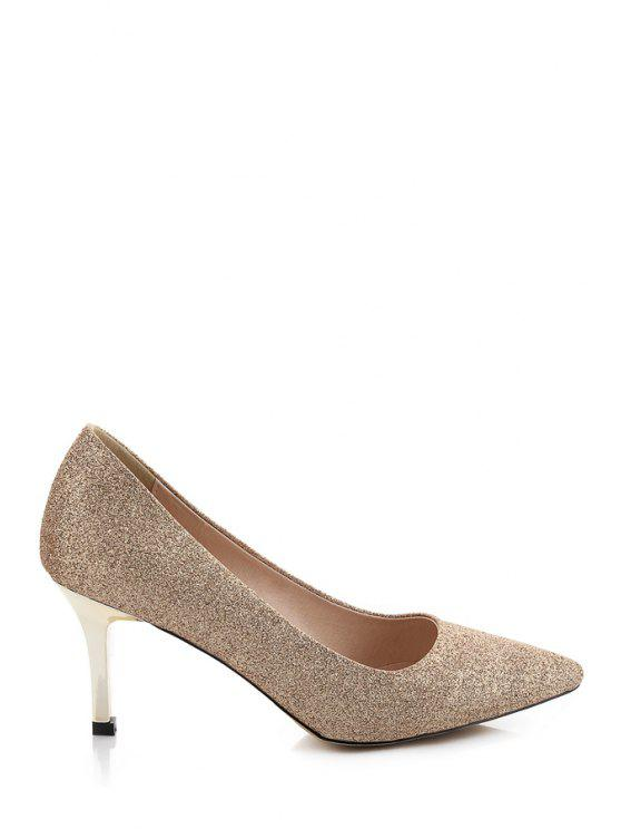 buy Bling Bling Stiletto Heel Pumps - GOLDEN 34