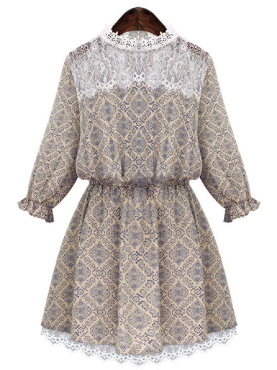 women's Retro Print Lace Splicing Dress - WHITE S