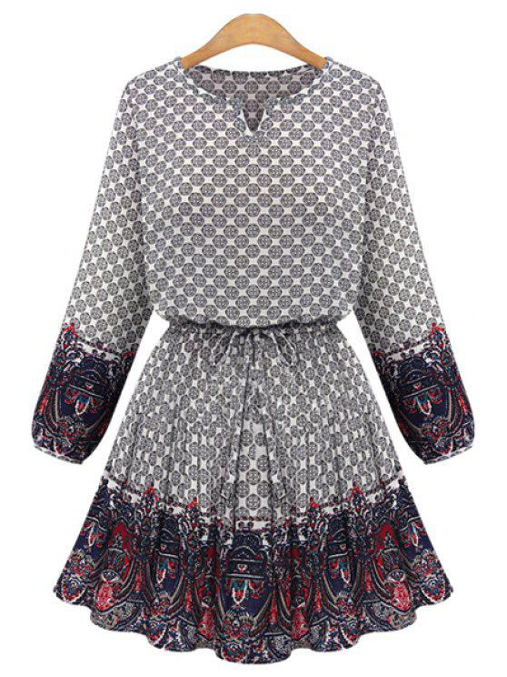 hot Print Splicing Long Sleeves Dress - OFF-WHITE 3XL