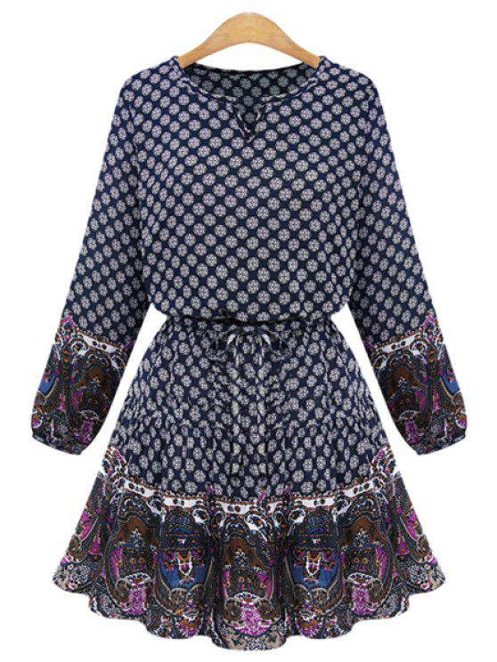 fancy Print Splicing Long Sleeves Dress - DEEP BLUE S