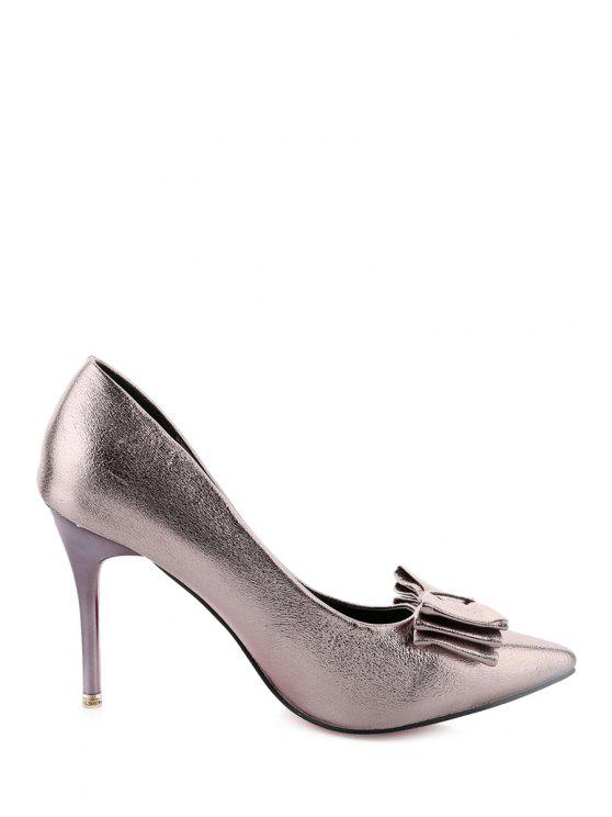 sale Metallic Color Stiletto Heel Bowknot Pumps - SILVER 37
