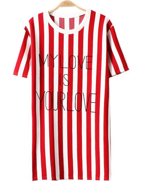 outfit Striped Letter Print Short Sleeve Dress - RED ONE SIZE(FIT SIZE XS TO M)